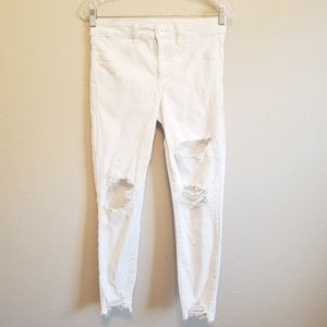 AE White High Rise Distressed Jeggings